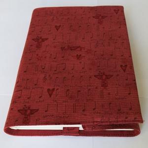 Textil könyvborító, Otthon & Lakás, Könyv- és füzetborító, Papír írószer, A zene szerelmeseinek készült ez a pamutvászon textil könyvborító. Mérete: 21x40 cm (kiterítve). A j..., Meska