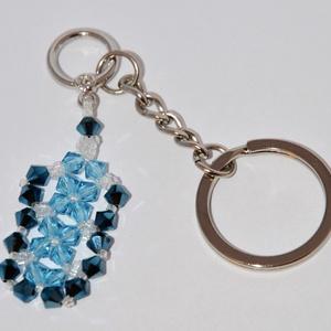 Swarovski kristály kulcstartó, Táska & Tok, Kulcstartó & Táskadísz, Kulcstartó, Swarovski kristály és japán gyöngyök felhasználásával készült kulcstartó.  Mérete: 6 cm + 5 cm (lánc..., Meska