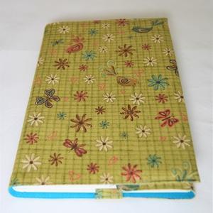 Textil könyvborító, Otthon & Lakás, Könyv- és füzetborító, Papír írószer, Designer pamutvászonból készült ez a vidám, színes textil könyvborító. Mérete: 21x40 cm (kiterítve)...., Meska