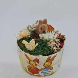 Kördobozban tavaszi/húsvéti dísz, Otthon & Lakás, Dekoráció, Asztaldísz, Mindenmás, Kedves Érdeklődő! \n\nA termék átmérője : 12 cm , Meska