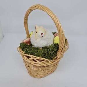 Natur kosárban húsvéti nyuszi asztaldísz, Otthon & Lakás, Dekoráció, Asztaldísz, Mindenmás, Kedves Érdeklődő! \n\nA termék mérete: 7 cm magas az egész termék 18 cm magas, Meska