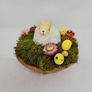 Húsvéti nyuszi kosár rose gold/fehér színben, Otthon & Lakás, Dekoráció, Asztaldísz, Mindenmás, Kedves Érdeklődő! \n\nA termék mérete: átmérő: 14 cm , Meska