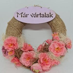 Ajtódísz kopogtató rózsaszín selyem virágokkal, Otthon & Lakás, Dekoráció, Ajtódísz & Kopogtató, Mindenmás, Kedves Érdeklődő! \n\nA termék 20 cm es alapra készült rózsaszín selyemvirágokkal mely igazán feldobja..., Meska
