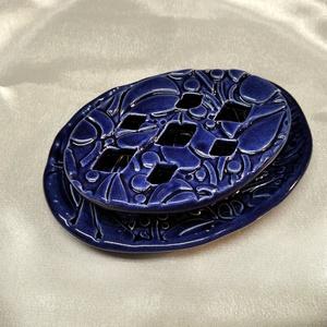 Szappantartó - kék színű, két részes, Otthon & Lakás, Fürdőszoba, Szappantartó, Kerámia, Szappantartó, mely a fürdőszoba éke lehet. Egyedi tervezésű, kézzel készült, ovális alakú, két része..., Meska