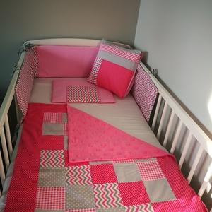 Rózsaszín és szürke patchwork mintás baba takaró , Gyerek & játék, Baba-mama kellék, Patchwork mintás egyedi baba takarót készítettünk a csöppségeknek. Igényesen összeválogatott színekb..., Meska