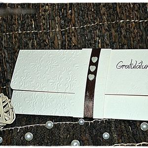 Három szív Pénzátadó lap/ Esküvői meghívó, Esküvő, Nászajándék, Emlék & Ajándék, Papírművészet, Meska
