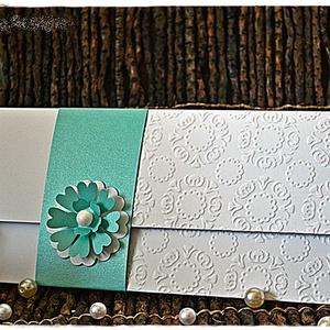 Menta virág Pénzátadó lap/ Esküvői meghívó  , Esküvő, Meghívó, Meghívó & Kártya, Papírművészet, Meska
