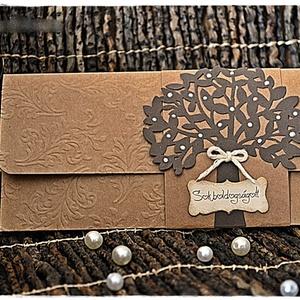 Szerelemfa Pénzátadó lap, Esküvő, Nászajándék, Emlék & Ajándék, Papírművészet, Meska