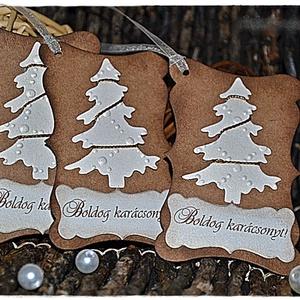 Antik arany karácsonyi ajándékkísérő, Karácsonyi csomagolás, Karácsony & Mikulás, Otthon & Lakás, Papírművészet, Csodaszép ajándékkísérőt készítettem, mellyel feldobhatod karácsonyi ajándékaidat és a hátoldalára s..., Meska