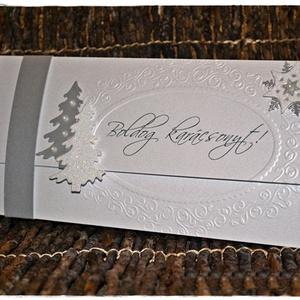 Ezüstfenyő- Karácsonyi pénzátadó lap, Karácsonyi képeslap, Karácsony & Mikulás, Otthon & Lakás, Papírművészet, Elegáns pénzátadó lapom ezüstfehér és ezüst színekben pompázik, fenyőfával, hópihével és némi csillá..., Meska