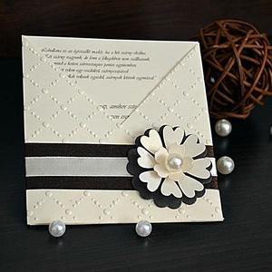 Virágos esküvői meghívó, Esküvő, Meghívó, ültetőkártya, köszönőajándék, Naptár, képeslap, album, Otthon & lakás, Papírművészet, Betétlapos esküvői meghívót készítettem fehérarany színű papírból. A meghívót domborítottam, 3D-s vi..., Meska