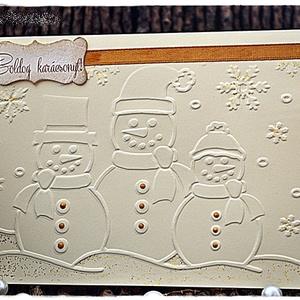 Hóemberek az aranylóan csillogó hóban Karácsonyi képeslap, Karácsony, Karácsonyi képeslap, üdvözlőlap, ajándékkísérő, Karácsonyi ajándékozás, Papírművészet, Meska