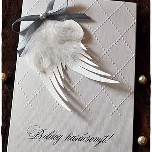Angyalok szárnyán karácsonyi képeslap, Karácsony, Karácsonyi képeslap, üdvözlőlap, ajándékkísérő, Karácsonyi ajándékozás, Papírművészet, Meska