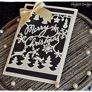 Merry Christmas karácsonyi képeslap, Karácsony, Karácsonyi képeslap, üdvözlőlap, ajándékkísérő, Karácsonyi ajándékozás, Papírművészet, Meska