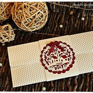 Téli templom karácsonyi pénzátadó boríték, Boríték, Papír írószer, Otthon & Lakás, Papírművészet, Téli templom karácsonyi pénzátadó boríték, Meska