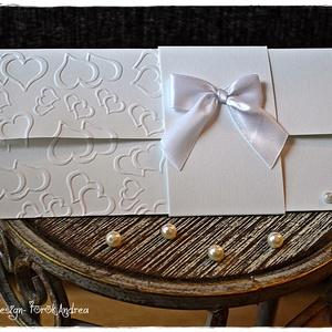 Szívecskés Pénzátadó lap/Esküvői meghívó/Keresztelő/Születésnap/Névnap, Esküvő, Nászajándék, Emlék & Ajándék, Papírművészet, Meska