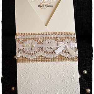 Csipkés esküvői meghívó, Esküvő, Meghívó, Meghívó & Kártya, Papírművészet, Meska