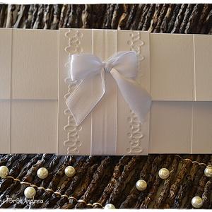 Hófehér masni és csipke pénzátadó lap/ Esküvői meghívó, Esküvő, Köszönőajándék, Emlék & Ajándék, Papírművészet, Meska
