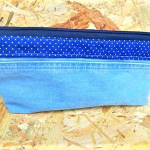 Kék tűpöttyös neszi / tolltartó, Táska, Divat & Szépség, Táska, Szatyor, Varrás, Világoskék farmerből készítettem ezt a kis neszit / tolltartót / szemüvegtokot. Sötétebb kék - fehér..., Meska