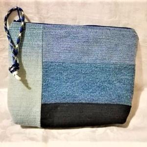 4 színű neszi, Táska, Divat & Szépség, Táska, Neszesszer, Varrás, 4 színkombinációjú farmer anyagból készítettem neszit,  kék pamutvászonnal béleltem, cipzáros.\nMéret..., Meska