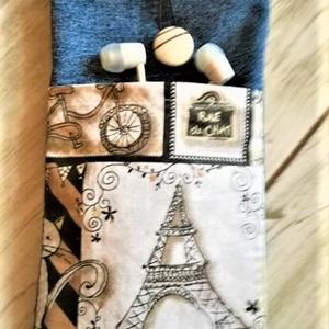 Eiffel torony mobiltok, Telefontok, Pénztárca & Más tok, Táska & Tok, Varrás, Kék farmerből készítettem mobiltokot, az elejére és belülre egy Eiffel torony mintás pamutvásznat vá..., Meska