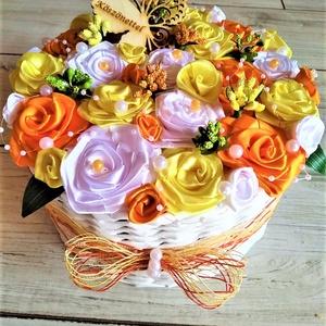 Szülőköszöntő ajándék, Esküvő, Emlék & Ajándék, Szülőköszöntő ajándék, Fonás (csuhé, gyékény, stb.), Szülőköszöntő ajándékot készítek megrendelésre. A kosarat papírfonással a szatén rózsákat szintén ké..., Meska