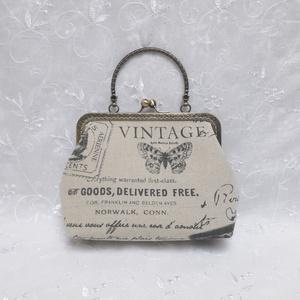 Vintage fémkeretes kistáska, Kézitáska, Kézitáska & válltáska, Táska & Tok, Varrás, 18 cm-es szögletes fémkerettel készült ez a fémfogantyús lenvászon kézi kistáska.\nBélése színben har..., Meska