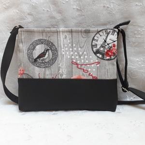 Vintage kistáska, Táska & Tok, Kézitáska & válltáska, Vállon átvethető táska, Varrás, Ez a kistáska vintage stílusú dekor textilből és fekete textilbőrből készült. Bélése pamutvászon. Ci..., Meska