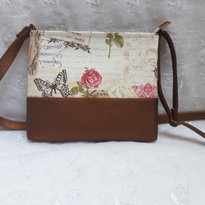 Vintage rose kistáska, Táska & Tok, Kézitáska & válltáska, Vállon átvethető táska, Varrás, Ez a kistáska vintage stílusú dekor textilből és bronz színű textilbőrből készült. Bélése pamutvászo..., Meska