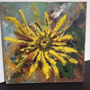 Napraforgó vidám színekkel., Művészet, Festmény, Akril, Festészet, A képet 30 x 30 cm-es feszített festővászonra, akrillal festettem. \nNincs kerete, széleit körbefeste..., Meska
