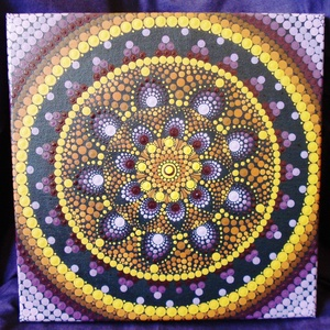 A teljesség mandalája / Mandala / Falikép, kép, Kép & Falikép, Dekoráció, Otthon & Lakás, Festészet, A teljesség mandalája - lila, sárga és narancs színek árnyalatával készült egy kolléganőm már meglév..., Meska