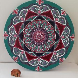 Sweet harmony mandala , Otthon & Lakás, Dekoráció, Mandala, Festészet, Pontozásos technikával készült mandala festmény a harmonikusabb otthonért. \n30 cm átmérőjű, Meska