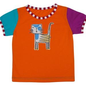 GRETA KISLÁNY PÓLÓ -cica mintás egyedi póló, Ruha & Divat, Babaruha & Gyerekruha, Ruha, Varrás, 100% pamutból készült, egyedi gyártású, megrendelésre készülő színes kislány ruha.\nElérhető méretek:..., Meska