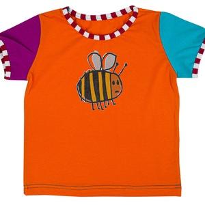GRETA KISLÁNY PÓLÓ - méhecske mintás egyedi póló, Ruha & Divat, Babaruha & Gyerekruha, Ruha, Varrás, 100% pamutból készült, egyedi gyártású, megrendelésre készülő színes kislány ruha.\nElérhető méretek:..., Meska