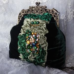 Zöld bársony táska. Strasszokkal. (Tatjana5) - Meska.hu