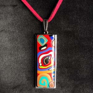 Színes téglalap nyaklánc, Kézzel készített,egyedi,vidám,színes téglalap alakú medál polymer clay-ből, pink színű, kapocs nélkü..., Meska