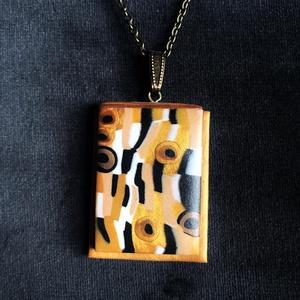 Gustav Klimt stílusú nyaklánc, Ékszer, Medálos nyaklánc, Nyaklánc, Kézzel készített,egyedi,Gustav Klimt stílusú nyaklánc polymer clay-ből, sárgaréz akasztóval illetve ..., Meska