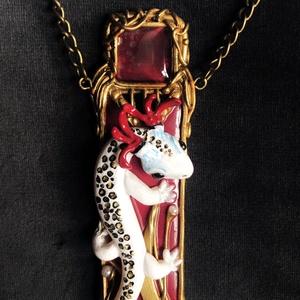 Art Nouveau gyíkos nyaklánc, Ékszer, Medálos nyaklánc, Nyaklánc, Kézzel készített,egyedi,antik hatású, Art Nouveau stílusú,különleges nyaklánc polymer clay-ből. Aran..., Meska