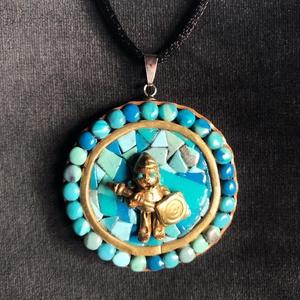 Antik hatású Navajo nyaklánc, Ékszer, Medálos nyaklánc, Nyaklánc, Kézzel készített,egyedi,antik hatású,Navajo stílusú medál polymer clay-ből, nemesacél akasztóval,fek..., Meska