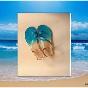 Zavé Tatu Saru 35-41 méretig, Táska, Divat & Szépség, Cipő, papucs, Női ruha, Ruha, divat, Táska, ...tengerpartot idéző...  Natúr bőrből készült saru, batikolt festéssel, felületét méhviasszal impre..., Meska