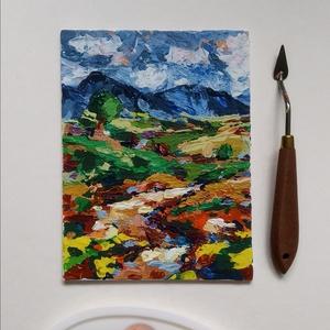 15x20 \'Út a mezőn át\' vászonkép, Otthon & lakás, Képzőművészet, Napi festmény, kép, Festmény, Akril, Egyéb, Festészet, Mindenmás, 15*20 cm-es absztrakt festett vászonkép, festő spatulával készült. \n*\nA festmény alapozott vászon ka..., Meska