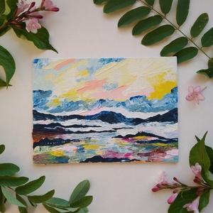 13x18 \'Napsugár a szigetek felett\' vászonkép, Otthon & lakás, Képzőművészet, Napi festmény, kép, Festmény, Akril, Egyéb, Festészet, Mindenmás, 13*18 cm-es absztrakt festett vászonkép, festő spatulával készült.\n*\nA festmény alapozott vászon kar..., Meska