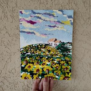 18x24 \'Absztrakt napraforgó mező\' vászonkép, Otthon & lakás, Képzőművészet, Festmény, Akril, Napi festmény, kép, Egyéb, Festészet, Mindenmás, 18*24 cm-es absztrakt festett vászonkép, festő spatulával készült.\n*\nA festmény alapozott vászon kar..., Meska