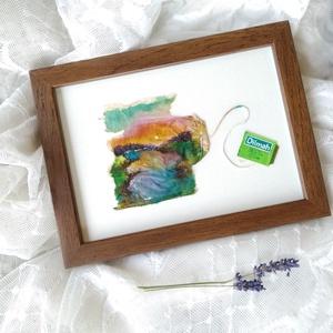 Teafilter festmény \'Naplemente a folyó felett\', Egyéb, Furcsaságok, Otthon & lakás, Képzőművészet, Napi festmény, kép, NoWaste, Újrahasznosított alapanyagból készült termékek, Fotó, grafika, rajz, illusztráció, Kidobás helyett festenivaló vászon lehet a teafilter? Nézd meg furcsa alkotásaimat, és győződj meg r..., Meska