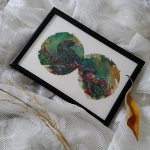 Teafilter festmény \'Holló és magyal\' vízfesték + pasztell rajz, Művészet, Festmény, Festmény vegyes technika, Fotó, grafika, rajz, illusztráció, Újrahasznosított alapanyagból készült termékek, Kidobás helyett festenivaló vászon lehet a teafilter? Nézd meg furcsa alkotásaimat, és győződj meg r..., Meska