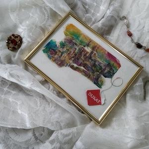 \'színes New York\', újrahasznosított teafilter festmény , Művészet, Festmény, Festmény vegyes technika, Fotó, grafika, rajz, illusztráció, Újrahasznosított alapanyagból készült termékek, Kidobás helyett festenivaló vászon lehet a teafilter? Nézd meg furcsa alkotásaimat, és győződj meg r..., Meska