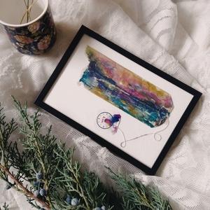 \'Magányos kacsa naplementénél\' vízfesték + pasztell rajz, újrahasznosított teafilter festmény, Művészet, Festmény, Festmény vegyes technika, Újrahasznosított alapanyagból készült termékek, Festészet, Kidobás helyett festenivaló vászon lehet a teafilter? Nézd meg furcsa alkotásaimat, és győződj meg r..., Meska
