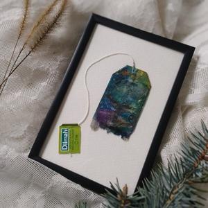 \'Északi táj\' vízfesték + pasztell rajz, újrahasznosított teafilter festmény, Művészet, Festmény, Festmény vegyes technika, Festészet, Újrahasznosított alapanyagból készült termékek, Kidobás helyett festenivaló vászon lehet a teafilter? Nézd meg furcsa alkotásaimat, és győződj meg r..., Meska