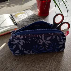 kék növényes tolltartó, tároló, neszesszer - Meska.hu