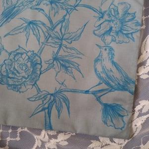 kék madarak festett virágos rajz, világoskék-halványszürke vászontáska - Meska.hu